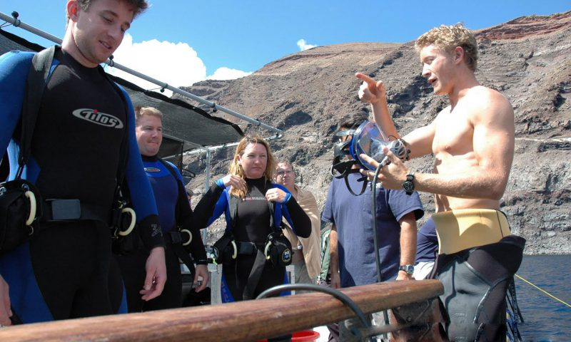 Instruction before cage diving with Great White Sharks off Guadalupe Island